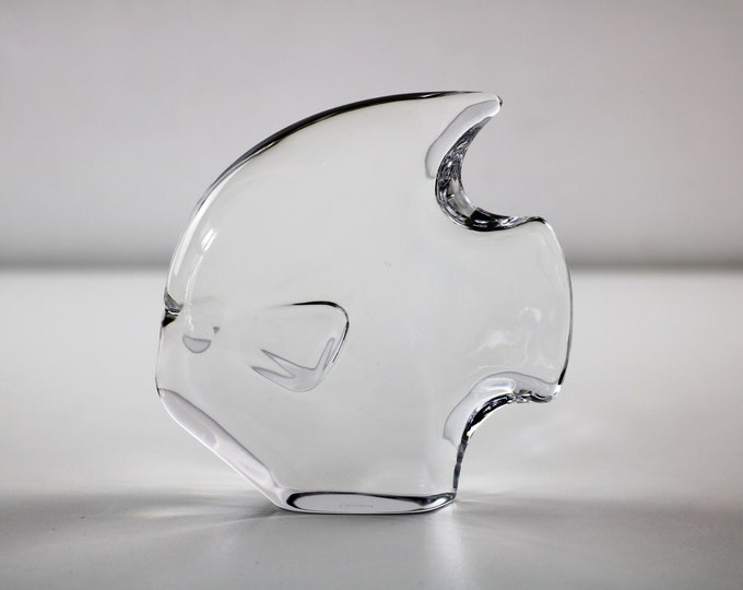 1980s Goebel clear glass fish figurine paperweight - signed / etched Goebel