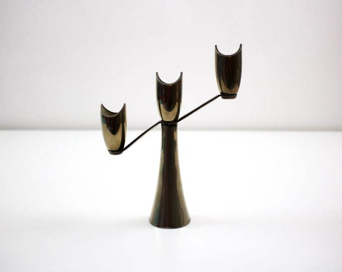Silver plated 3 candle candelabra by Grenadier - modernist