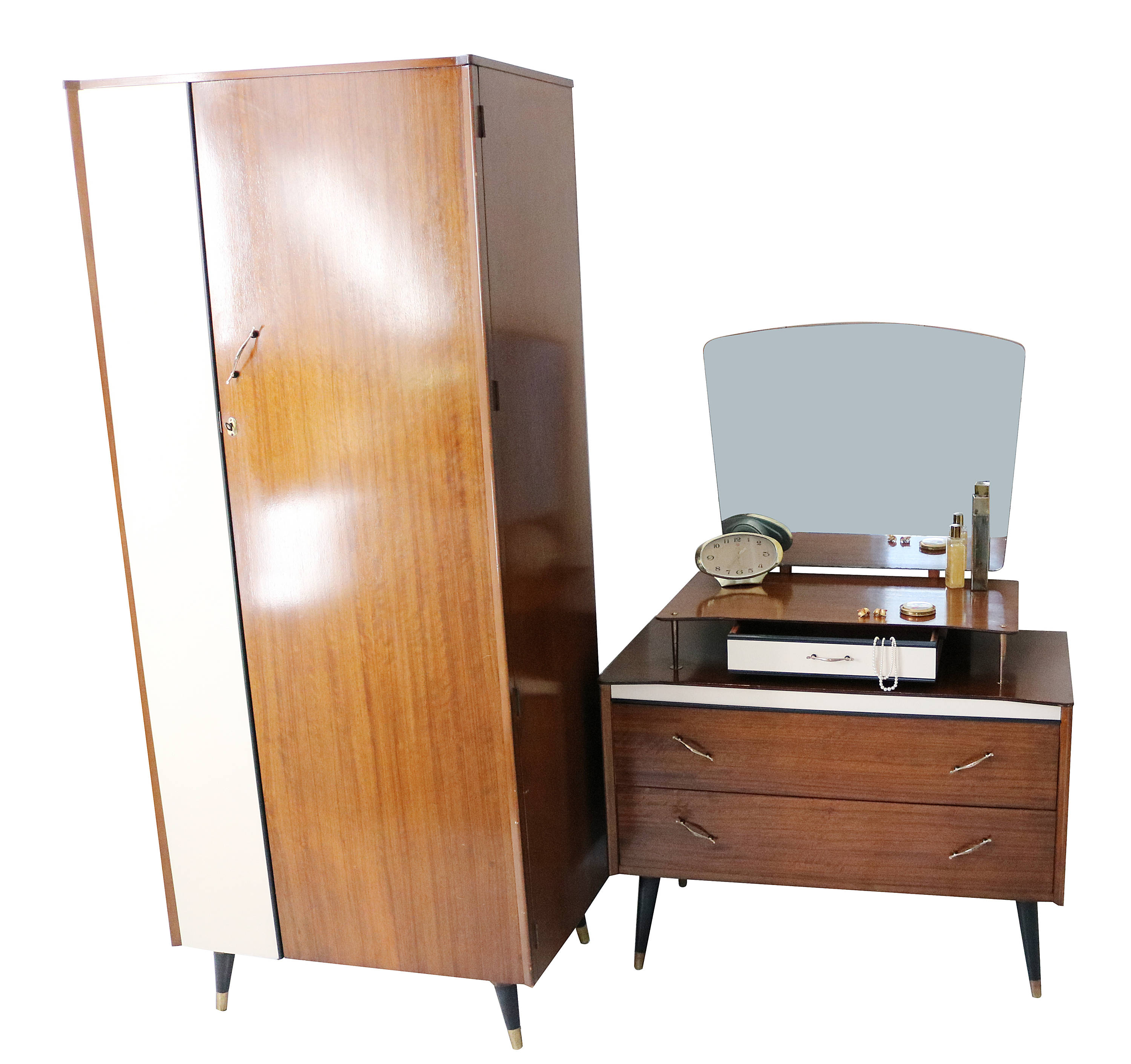 Mid Century 50s 60s Furniture Wardrobe And Dressing Table With Dansette  Legs By Bescraft CBAS