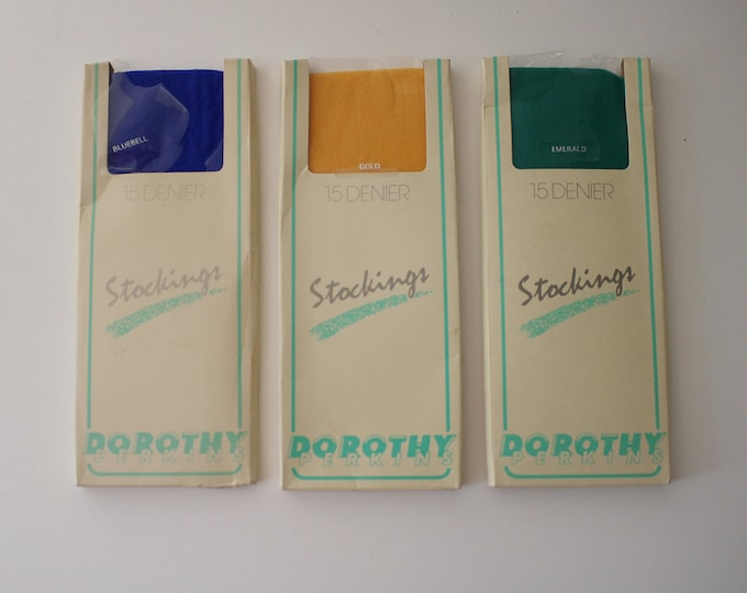 80s colourful stockings by Dorthy Perkins - 3 pairs emerald, gold and bluebell