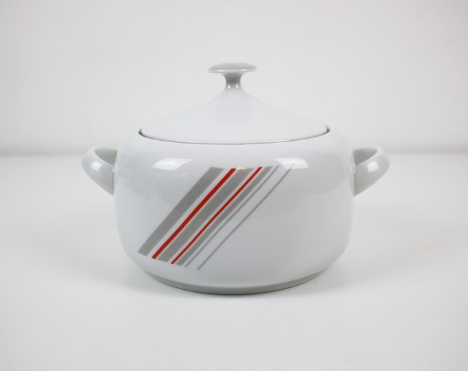 1980s casserole pot / serving dish with post modernist diagonal stripes in red and grey - by Winterling Bavaria