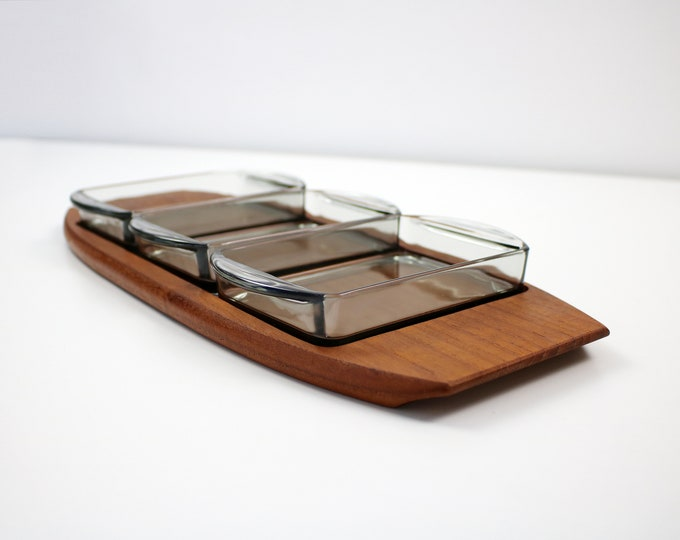 1960s/70s Danish teak and smoked glass meze nibbles dish / party snacks - likely Digsmed