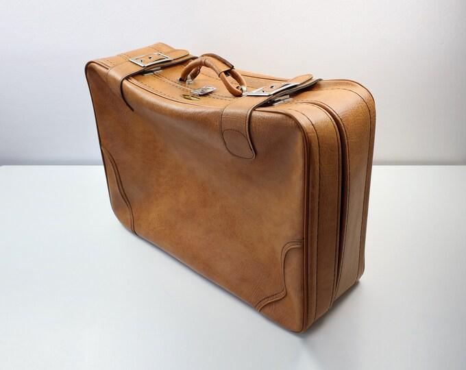 1960s 70s Spartan / Spartanite orange overnight case / suitcase / wedding or keepsake storage
