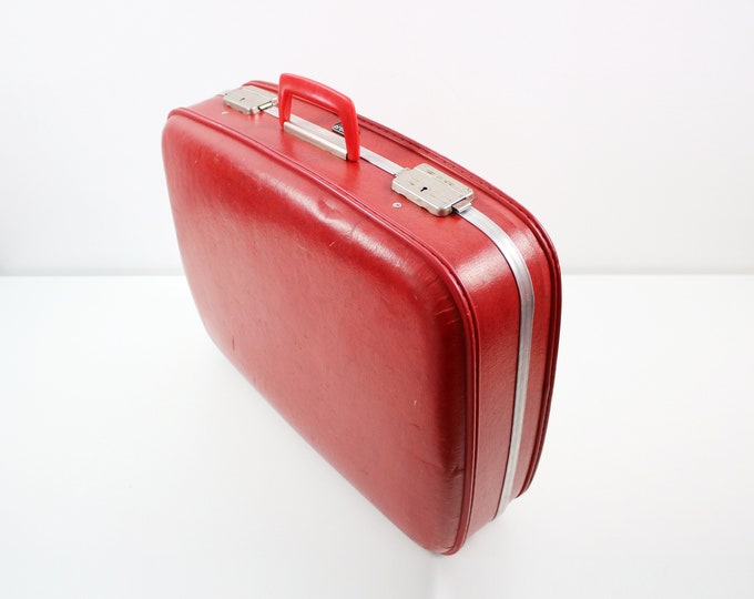 1960s hardshell suitcase by Crown - red faux leather with aluminium trim - wedding, display case, weekend bag