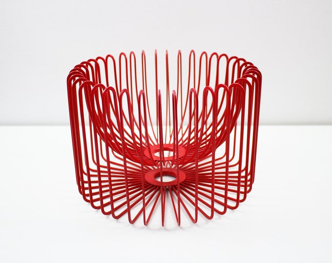 1990s Tradig red wire fruit bowl by Ehlen Johansson for IKEA PS range