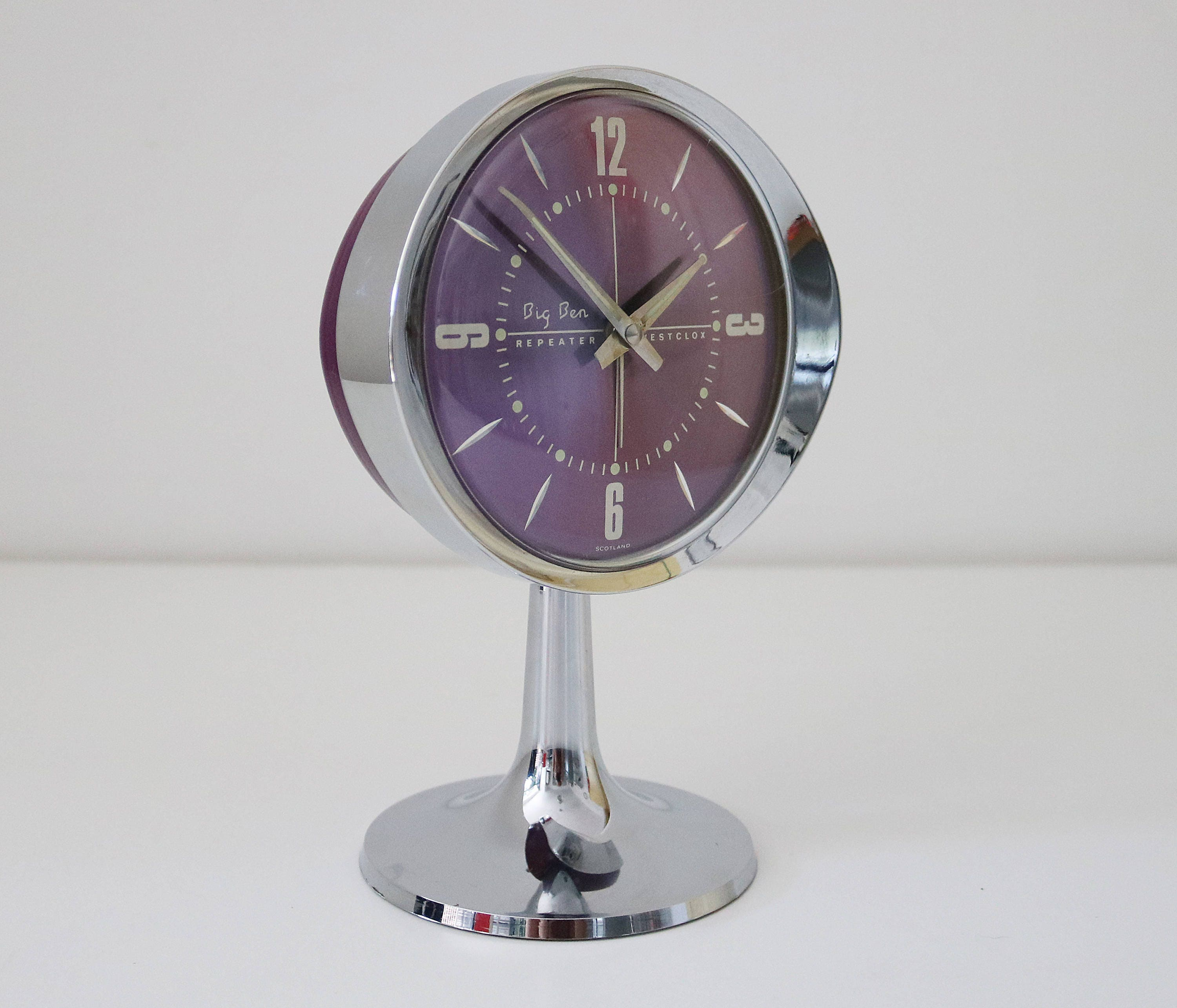 Westclox Big Ben Repeater Space Age Clock Shiny Chrome And Purple On