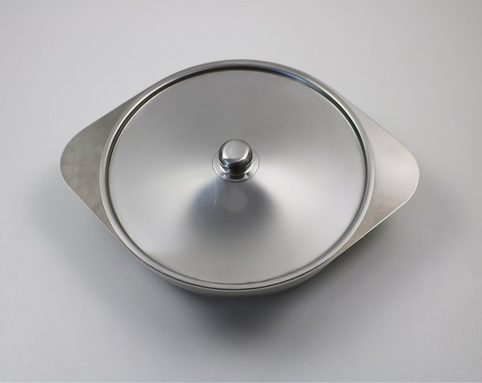 Modernist Swedish stainless steel serving dish with divider and lid by Germetco of Sweden / Arthur Salm