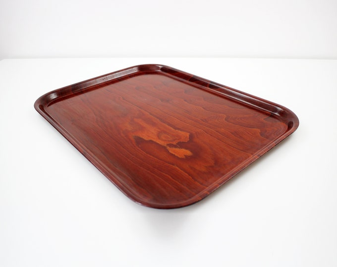 1960s German laminated wood serving tray in rich mahogany / rosewood finish Gerling Sol-Ohligs
