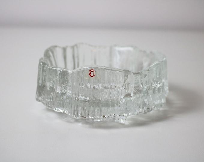 Iittala Seita heavy ice / bark textured glass bowl by Tapio Wirkkala1970s glass - stickered