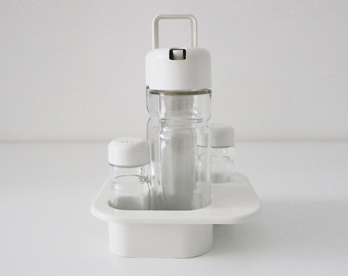 Space age modernist glass and plastic condiment cruet set 5 pieces made by Valira