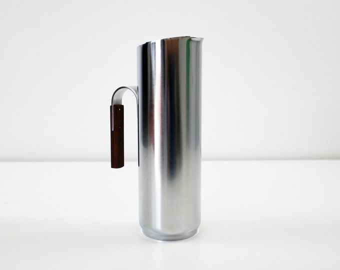 1960s Italian modernist cocktail water pitcher / jug stainless steel rosewood - ice guard