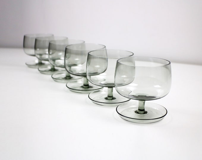 Set of 6 smoked glass bowls / dessert dishes with saucer base / spoon rest