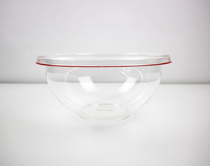 1990s XL Italian acrylic fruit / serving / salad bowl with red coloured line. Seasons by Guzzini. Unused stock