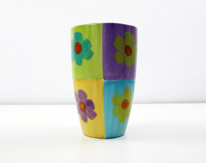 1990s hand painted Amano daisy vase by Scheuler - Made in Germany