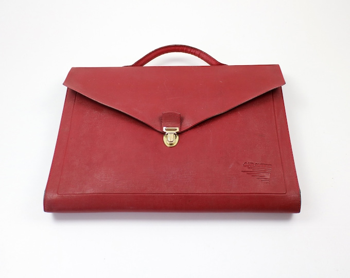 1980s/90s French Air Inter document case - red faux leather - rare item