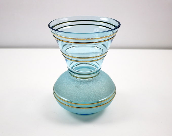 1950s sugar frosted and gold stripe vase in teal / aquamarine (blue/green)