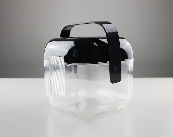 1980s acrylic / lucite ice bucket by Guzzini - black lid and handle