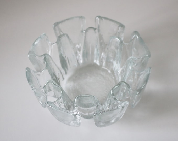 1970s ice crystal petal dish / candle holder Flair by Ravenhead