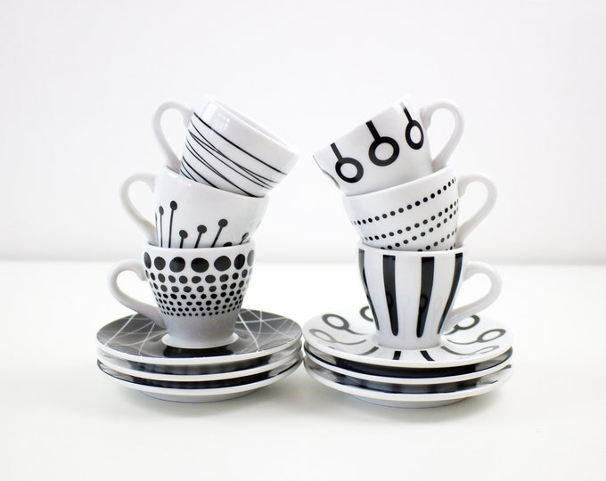 Set of 6 Danish espresso coffee cups and saucers Paula by Bodum of Denmark - black and white