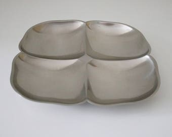 1970s Viners 4 division aperitif dish in stainless steel in original box - party meze snacks