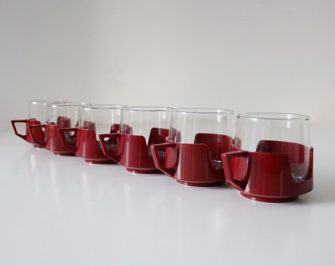 Pairs of Pyrex retro glass cups plastic holders by JAJ drinkups campervan picnic