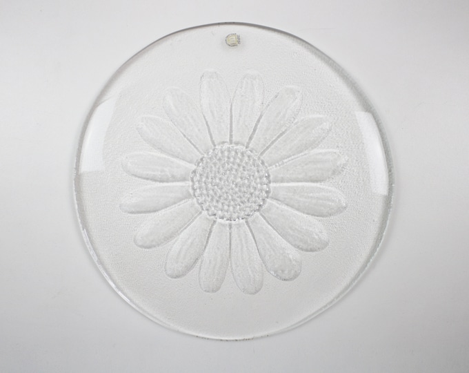 1970s glass serving plate - Daisy cheese platter FT215 by Frank Thrower for Dartington