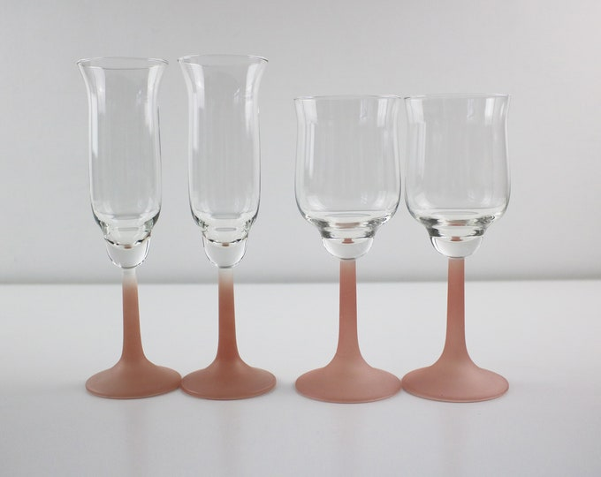 1980s pairs of pink frosted stem cocktail / wine / champagne glasses - 2 styles available