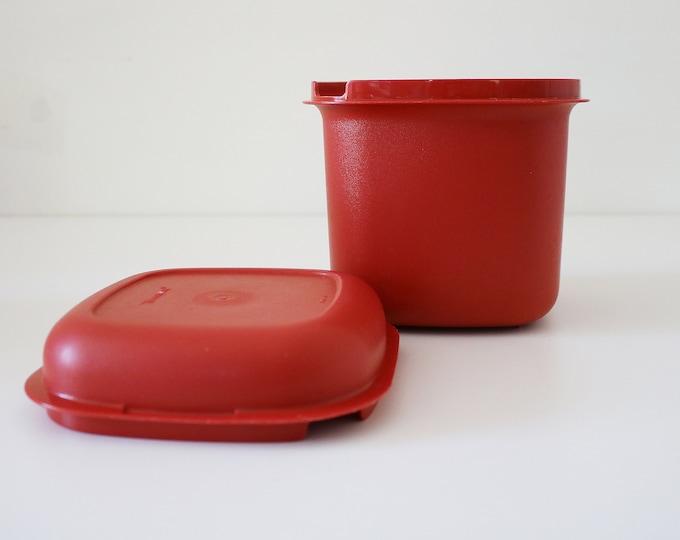 Dark orange Tupperware ice bucket / container for tea, coffee, sugar, etc.