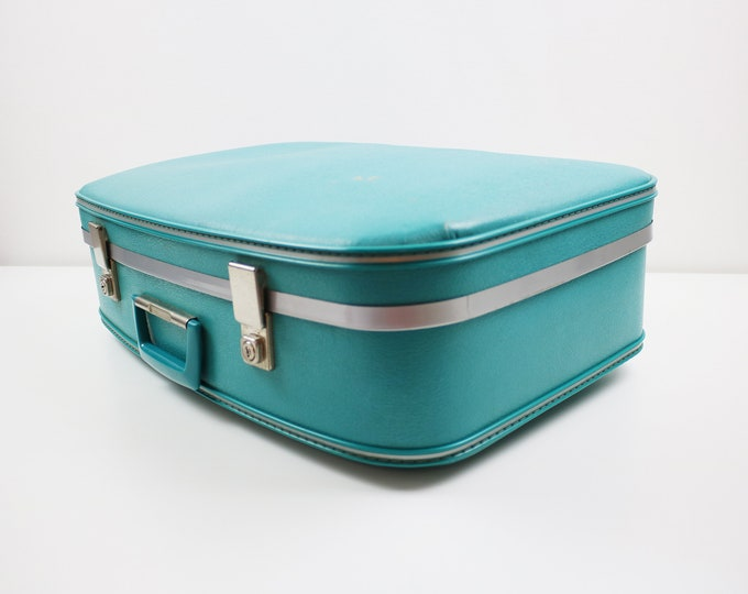 1960s teal hardshell suitcase - turquoise faux leather with aluminium trim - wedding, display case, weekend bag