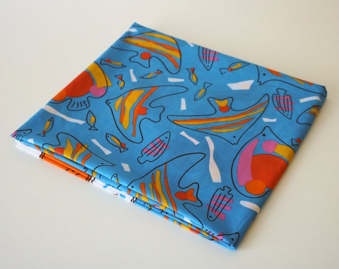 1986 Mary Quant sarong / pareo / tablecloth / throw (or whatever you like!) 1980s bright fish design