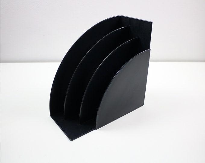 Iconic Crayonne Habitat record rack / magazine holder plastic 70s 80s black plastic