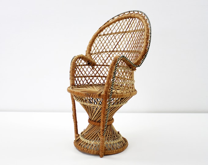 Vintage scaled rattan peacock chair for doll, teddy or plant stand. 31cm high