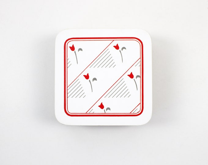 Set of 1980s red and white melamine cork backed coasters Red Tulip by BHS - British Home Stores