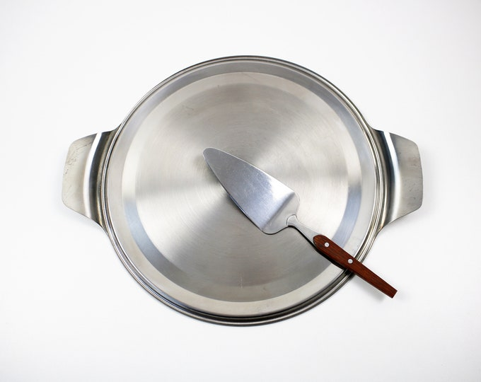Boxed stainless steel and rosewood cake and pie plate with server set - 1970s modernist - boxed