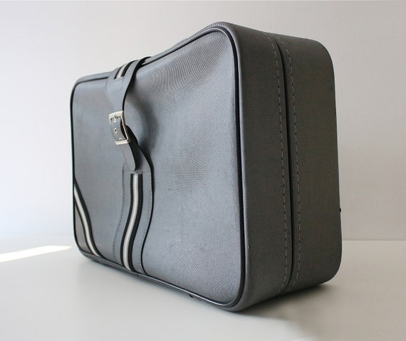 Vintage Marks And Spencer St Michael Soft Shell Linen Effect Vinyl Suitcase 60s 70s Grey And Black