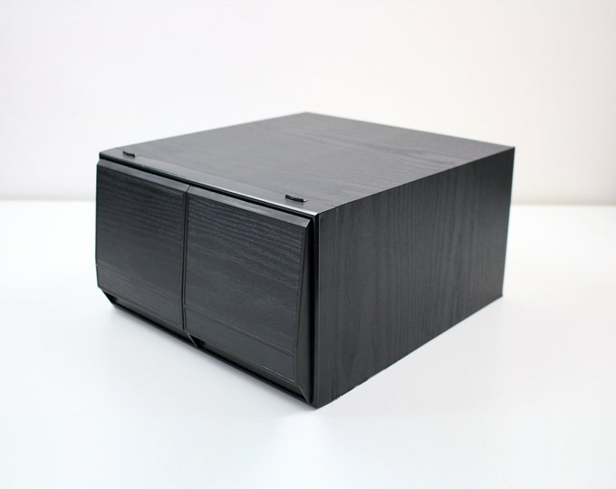 1980s 90s black ash cd storage 2 drawer stacking drawer unit - 2 units available
