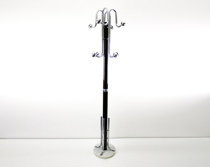 1970s space age atomic coat stand in chrome and brown with marble base. Rare item.