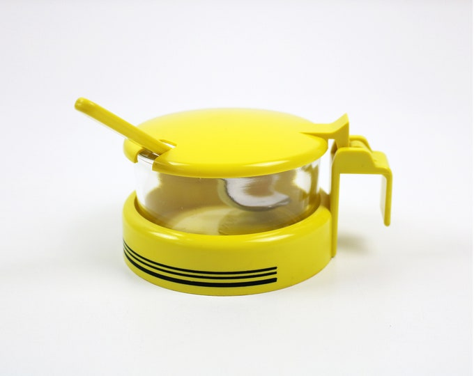 1980s Spanish sugar / jam / parmesan bowl jar with spoon - glass, yellow and black plastic, and chrome by Monix