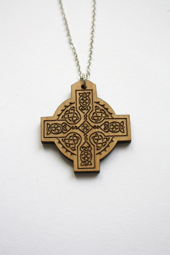 Celtic cross pendant wooden necklace man or woman unisex etsy image 0 aloadofball Gallery
