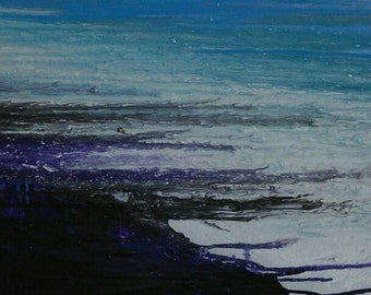 Ice Cave-An original abstract painting on canvas, created in purple, light blue &  white with an iridescent finish by Lynda Colley Originals