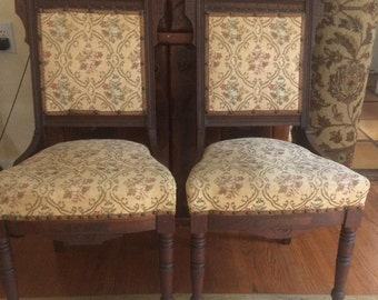 ANTIQUE 1856 Pair Of Matching Charles Eastlake Chairs With Floral  Needlepoint Fabric.