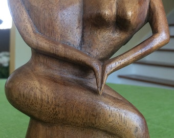 Fabulous & most unique HAND CARVED wood Statue of Man and Woman with medium tone finish and wonderful grain in the wood.