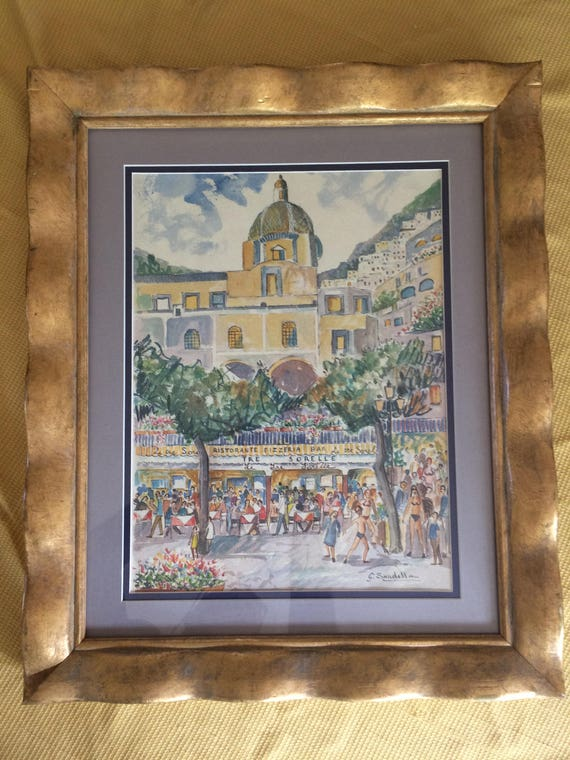 Watercolor Painting Signed G Sandella Double Matting And Framed