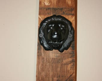 7451b934c0e Rustic Farmhouse Bottle Opener. Cast Iron Lion attached to wine barrel wood  (stave). Wine barrels sourced from Crozet, Virginia. Gift.