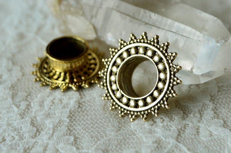 Dotted golden brass plugs Pick your size indian design festival Beautifully ornate mandala ear tunnel Tribal boho hippie psytrance