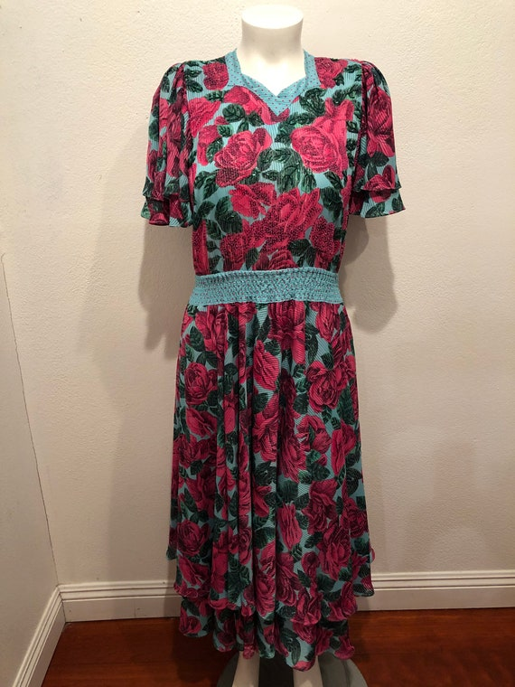 Diane Freis Original Dress Floral Vintage 80's