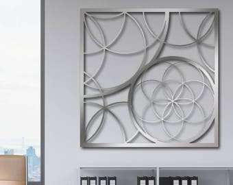 Laser Cut Metal Decorative Wall Art Panel Sculpture For Home, Office, Indoor or Outdoor Use (Flower of Life)