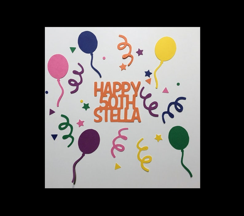 Happy Birthday Personalized Confetti Any Name with Circles Custom Confetti