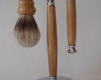 Oak & Chrome Shaving Set