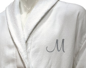 Luxury Men Personalized Bathrobe Gift with Silver Monogram and Name -  Waffle   Terry White Bathrobe fc1897938